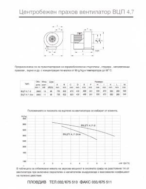 Центробежен прахов вентилатор ВЦП 4.7